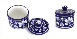 Azur ᴥ Blue Pottery Blue Floral Round Box ᴥ A