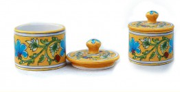 Azur ᴥ Blue Pottery Yellow Floral Round Box ᴥ B