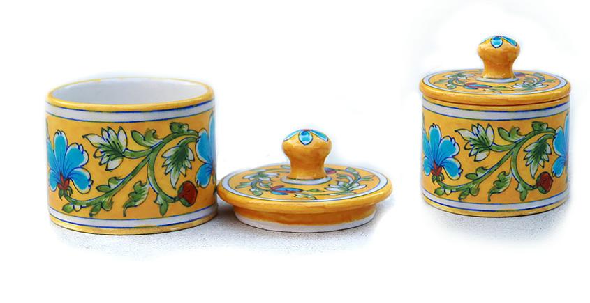 Azur ᴥ Blue Pottery Yellow Floral Round Box ᴥ B