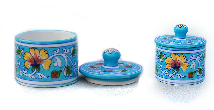 Azur ᴥ Blue Pottery Terquoise Floral Round Box ᴥ C