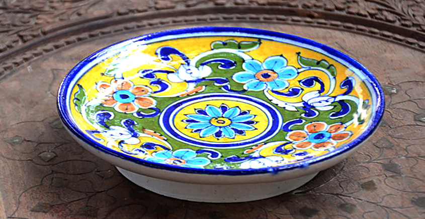 Azur ᴥ Blue Pottery Yellow Floral Plate ᴥ F