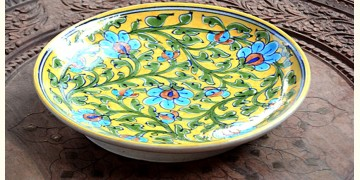 Azur ᴥ Blue Pottery Yellow Floral Plate ᴥ I