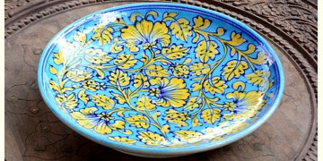 Azur ᴥ Blue Pottery Turquoise Floral Plate ᴥ K