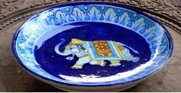 Azur ᴥ Blue Pottery Blue Elephant Plate ᴥ M