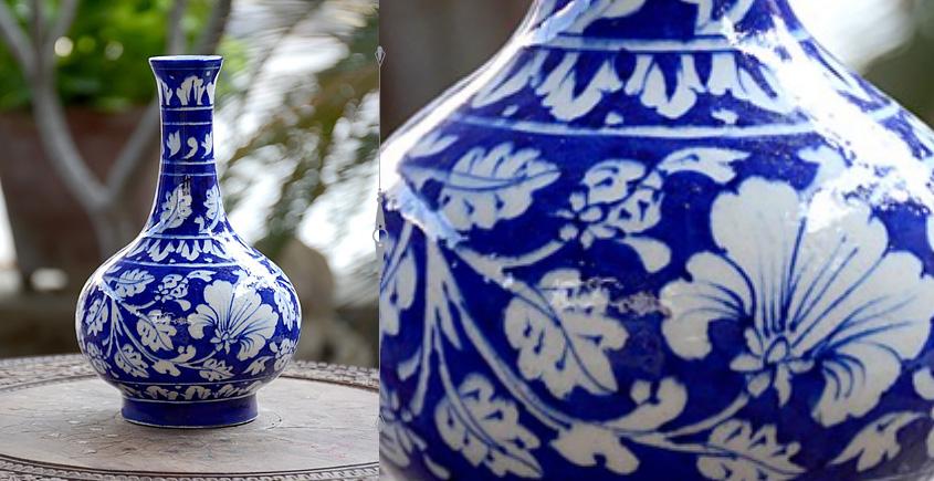Azur ᴥ Blue Pottery Blue Floral Vase ᴥ N