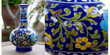 Azur ᴥ Blue Pottery Green Leaf Vase ᴥ O