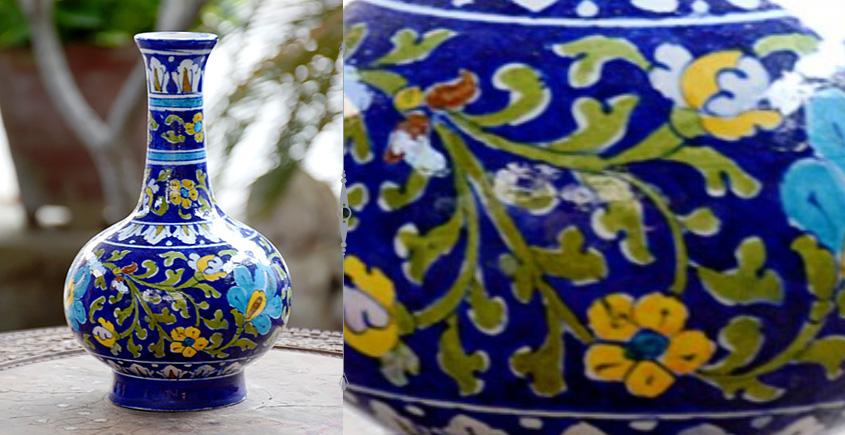 Azur ᴥ Blue Pottery Green Leaf Vase ᴥ O