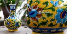 Azur ᴥ Blue Pottery Yellow Floral Vase ᴥ P