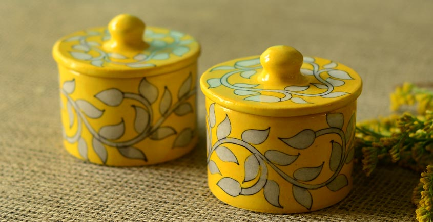 Azure ~ Yellow Chutney box (Set of two)