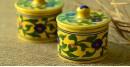Azure ~ Yellow/Green Chutney box (Set of two)