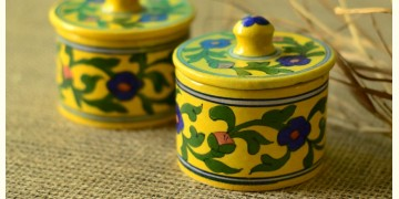 Azure ~ Yellow/Green Chutney box (Set of two)
