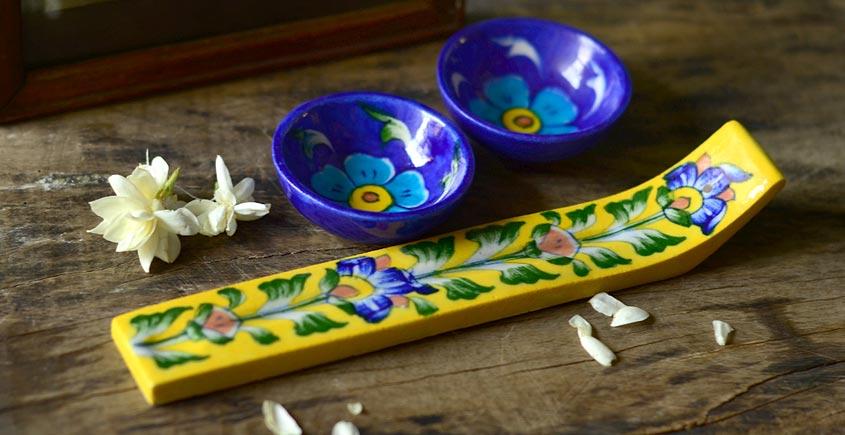 Azure ~ Diya + Incense stick stand