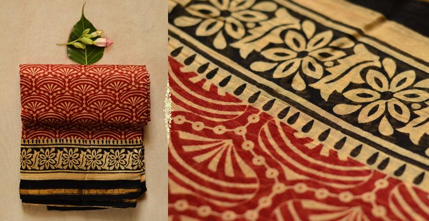 Abhigyana ♠ Bhagru Block Printed . Chanderi Saree { Q }