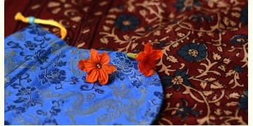 Ajrakh silk stole + Silk pouch (pome)