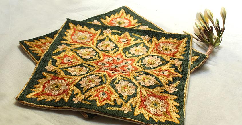 A Garden To Keep ✽ Aari Embroidered Cushion ✽ 5 { Set of 2 }