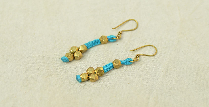 Dhokra bead ear ring with blue color threads