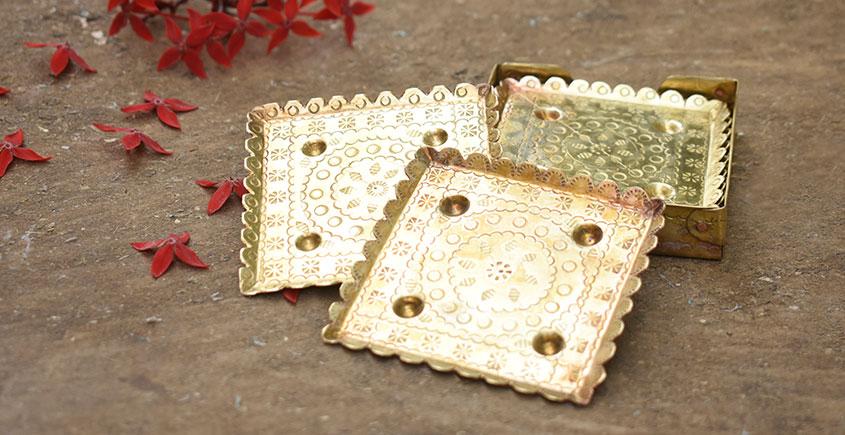 Ahar ✽ Brass ~  Coaster { Six Pieces }