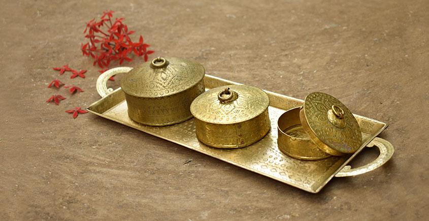 Ahar ✽ Brass ~ Tray & Three Dabro ( Small )