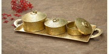 Ahar ✽ Brass ~  Tray & Three Dabro