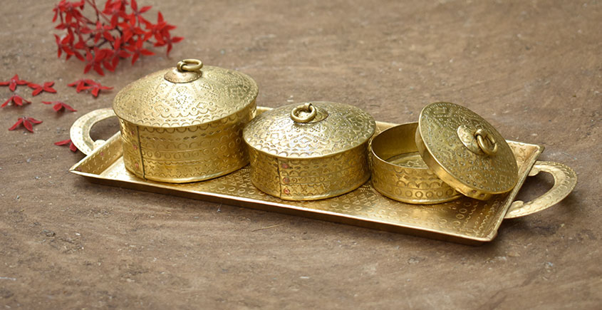 Ahar ✽ Brass ~  Tray & Three Dabro ( Large )