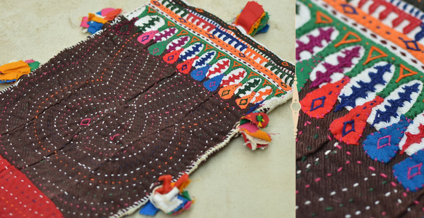 Pieces of Sindh ❂ Hand Embroidered Antique Pouch ❂ 87