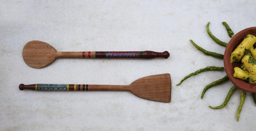 Rangavali ✼ Kutch lacquer ladles { Set of two } ✼ { 6 }