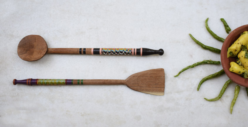 Rangavali ✼ Kutch lacquer ladles { Set of two } ✼ { 7 }