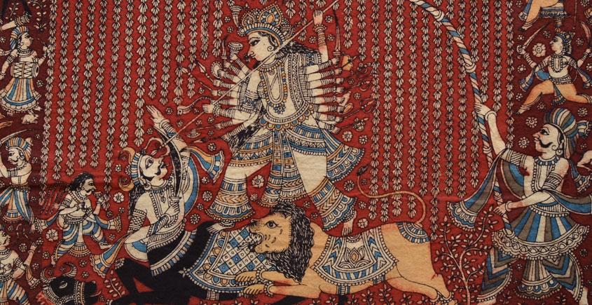 Sacred cloth of the Goddess - Durga Mata & Mahishasura ( 25 X 20 )