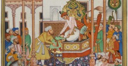 Miniature painting ~ Emperor Akbar receiving Abdul rahim