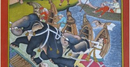 Miniature painting ~ Emperor Akbar laying siege