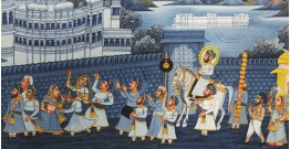 Miniature painting ~ Maharaja Fateh Singh ji wedding procession