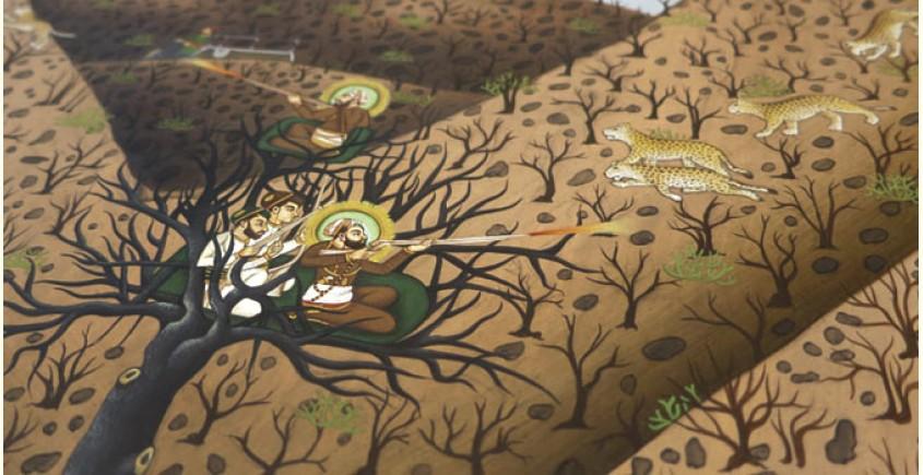 Miniature painting ~ Maharaja Fateh Singh ji hunting leopards