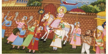 Miniature painting ~ Maharaja of Mewar procession