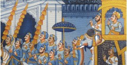 Miniature painting ~ Maharaha procession at Night