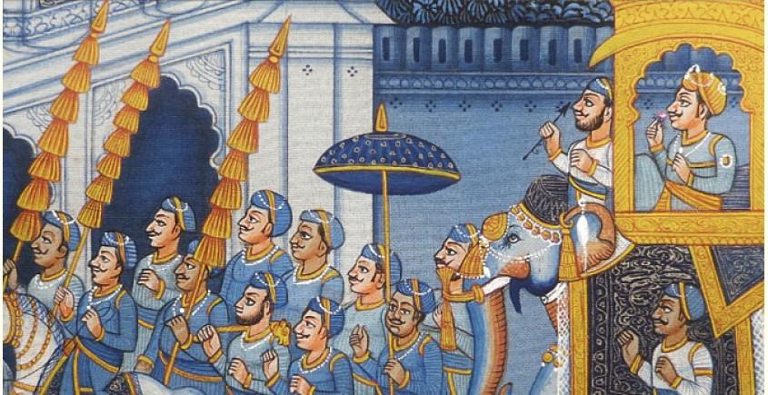 Miniature painting ~ Maharaha procession at Night