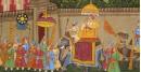 Miniature painting ~ Maharaja fateh singh ji procession after war