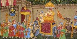 Miniature painting ~ Maharaja fateh singh ji procession after war