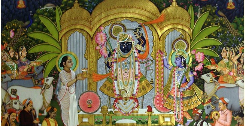 Pichwai Painting ~ Shrinath ji with ashtha sakha