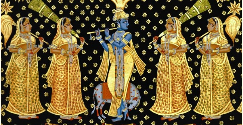 Krishna and Gopies ~ gold and silver (137 X 122)