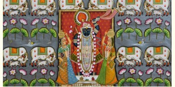 Jal kamal with shrinathji and cow (122 X 152)