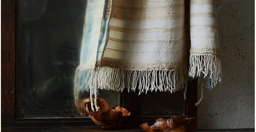 Elegance from the grasslands VII ~ handwoven woolen stole