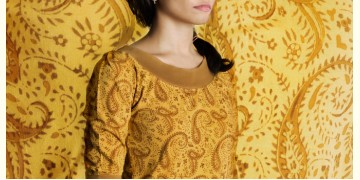 Brown paisley on mystic yellow ~ Gaamthi tshirt