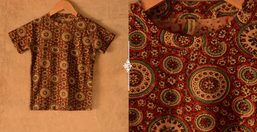 When autumns wondered II ✼ Vegetable Colors Ajrakh T-Shirt ( Kids )