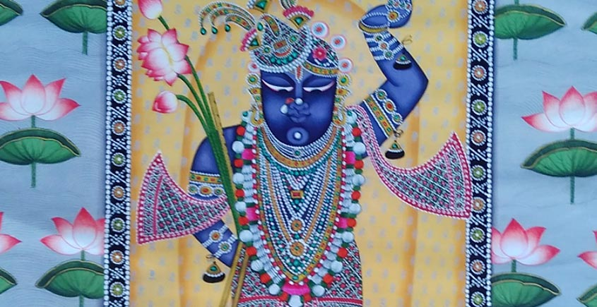 Shrinath ji with lotus in blue