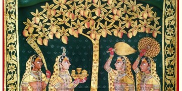Gopis . Gold foil Work