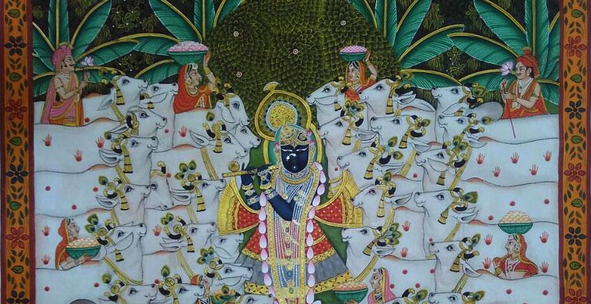 Pichwai Painting ~ Gokul Van krishna and cow
