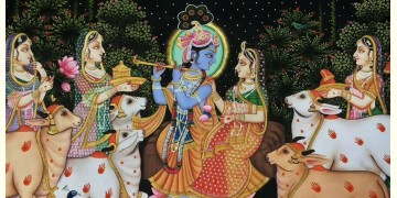 Pichwai Painting ~ Krishna with Gopis { 3 X 4 Feet }