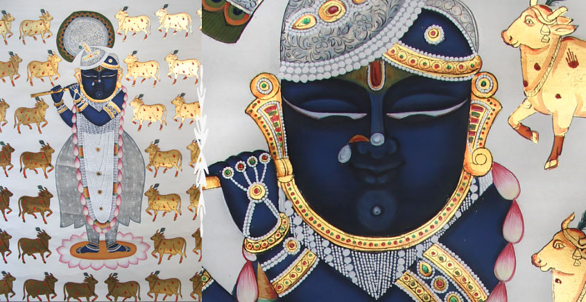 gold cow Pichwai Painting ~ Shyam