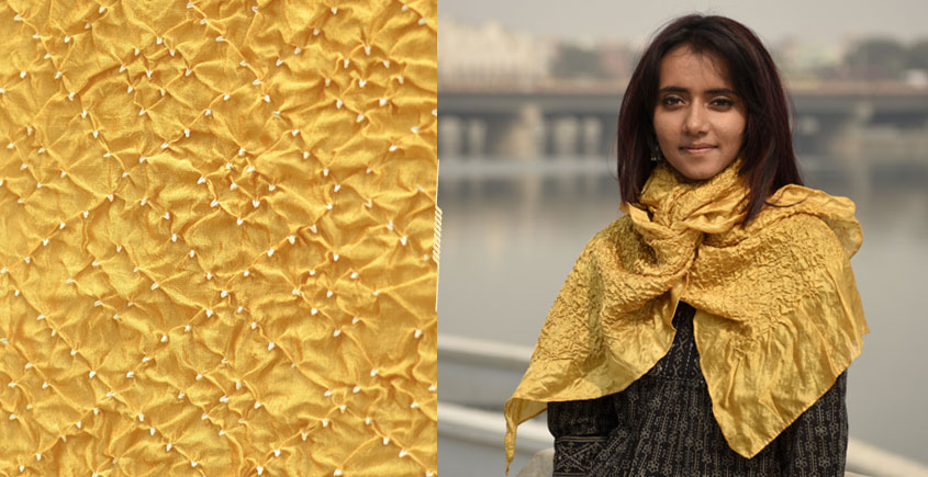 Ela ☘ Naturally Dyed . Bandhani Silk Stole ☘ 8