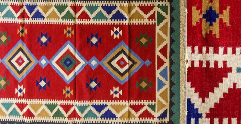 शाही ✜ Handwoven Cotton Punja Dhurrie ✜ 6 { 4 X 6 }
